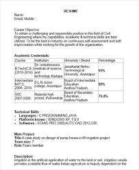 Sample Resume Of Civil Engineering Fresher by 40 Fresher Resume Examples