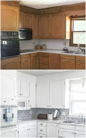 how to paint stained kitchen cabinets painting oak cabinets white an amazing transformation