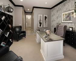 Desk Molding Black Crown Molding Home Office Transitional With Desk Gray Wall