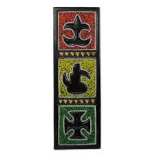 adinkra symbol wooden wall art with glass beads adinkra i novica