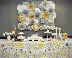 yellow and gray baby shower decorations backdrop brilliance dessert table vintage baby showers and