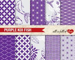 koi scrapbooking digital paper pack purple printable background