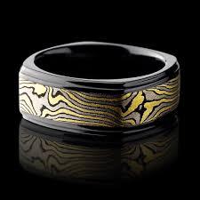 black zirconium wedding bands black zirconium ring with mokume gane lashbrook designs