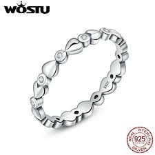 linked wedding rings wostu 100 real 925 sterling silver forever heart linked to heart