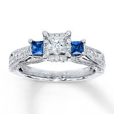 engagement rings sapphire images Kay diamond sapphire ring 1 ct tw princess cut 14k white gold jpg