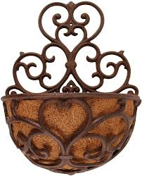wall mounted planter amazon com esschert design usa bph51 half round cast iron wall