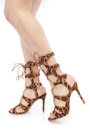 leopard strappy lace up single sole gladiator sandals faux suede