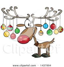 clipart of a cartoon christmas reindeer with ornaments on his