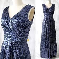 blue sequin bridesmaid dress navy blue a line v neck sleeveless formal bridesmaid