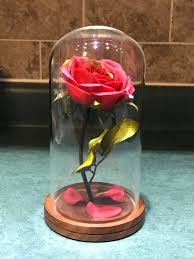engraved beauty and the beast rose medium