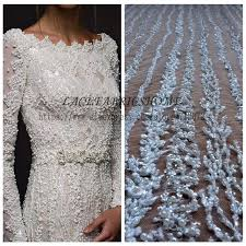 wedding dress fabric restock 1 yard heavy handmde beaded bridal fabric 130cm