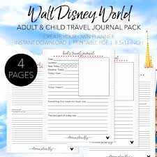 printable vacation journal pages walt disney world travel journal bundle dream plan fly