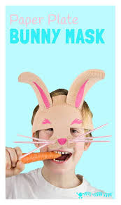 make a paper plate easter bunny mask rabbit crafts imaginative
