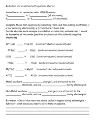 electrolysis half equations starter by kempam teaching resources