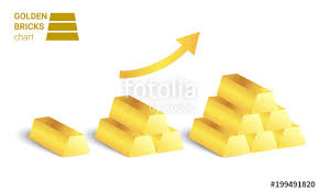 growing chart golden bricks growing chart vector on white background stock