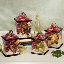 grape canister sets kitchen kitchen wine cellar canister set with earthenware grape