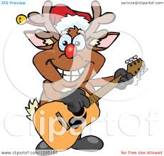 clipart of a cartoon happy red nosed rudolph christmas reindeer