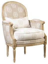 French Script Armchair Laval French Country Medallion Back Monogram Upholstered Armchair