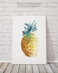 pineapple watercolor painting summer print teal and gold home