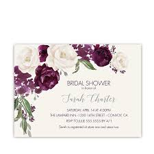 plum wedding bridal shower invitation purple plum watercolor floral