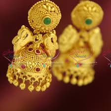antique gold jhumka earrings er0684 exclusive gold design jewellery online lock jhumka
