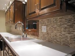 decorating brown kitchen cabinets with bullnose tile backsplash