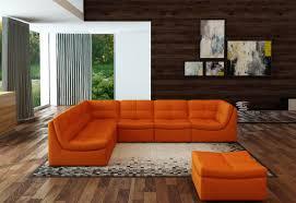 Modular Leather Sectional Sofa Casa 207 Modern Orange Bonded Leather Sectional Sofa