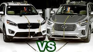 kia sorento vs hyundai santa fe 2017 hyundai santa fe vs kia sorento crash tests