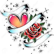 heart and rose tattoo banner royalty free cliparts vectors and