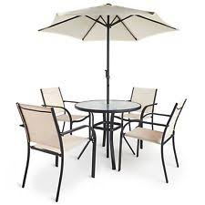 Patio Table Parasol 6 Piece Patio Set Garden Furniture 4 Chairs 80cm Glass Table