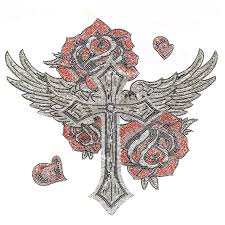 s5286 cross with wings and roses designer looks symbols cross