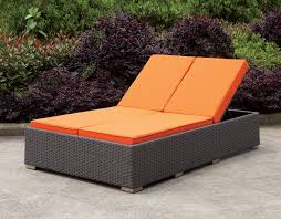 Gray Wicker Patio Furniture by Dixie Contemporary Style Orange Fabric Cushions Light Brown