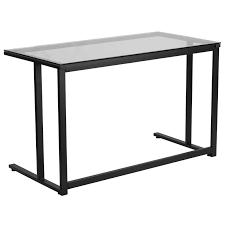 A Frame Computer Desk by Flash Furniture Glass Desk With Black Pedestal Frame Walmart Com