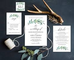 greenery wedding invitation printable eucalyptus greenery