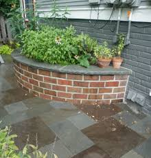 Long Planter Box by Brown Brick Stone Planter Box Ideas Mixed Geometric Tile Outdoor
