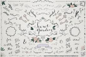 secret garden wedding clipart vintage wedding ornaments and