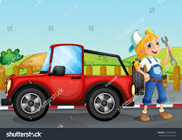 red jeep illustration repairing red jeep stock illustration 156578528