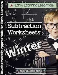 subtraction worksheets winter u2014 kindergarten kiosk
