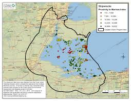 Great Lakes North America Map by Shipwreck Dive Sites Map