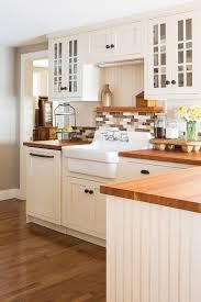 Shaker Style White Cabinets Farmhouse Kitchen Backsplash Kitchen Beach Style With Mullion