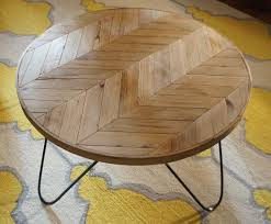 hairpin leg coffee table round round chevron patterned coffee table a modern piece handcrafted