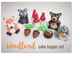 woodland cake toppers fondant raccoon etsy