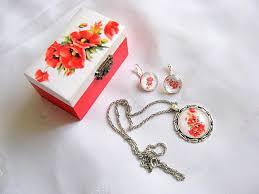 cercei cu magnet set cadou cutie cercei inel si pandantiv floarea soarelui 28665