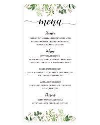 wedding menu cards template greenery wedding menu cards editable wedding template papersizzle