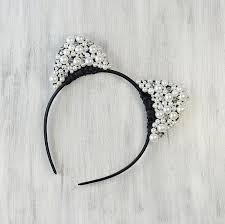 glamour cat ears hair band beaded kitty cat headband white