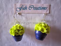 handmade paper earrings fah creations handmade jewelry paper quilling flower pot