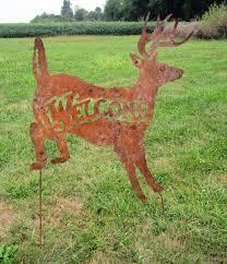 rustic metal deer welcome yard ornament lawn stake