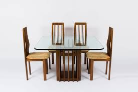dining table oak base and glass top italian design 1950