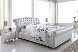 White Leather Bed Frame King Size White Headboard In Leather Bed Frame