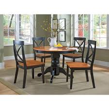 Oak Dining Chairs Home Styles 5 Piece Black And Oak Dining Set 5168 318 The Home Depot